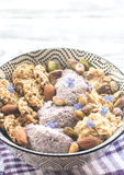 Oats with chia pudding and cereal cookies Stock Photo