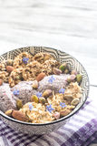 Oats with chia pudding and cereal cookies Royalty Free Stock Photo
