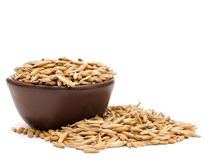 Oats in a clay bowl Royalty Free Stock Photography