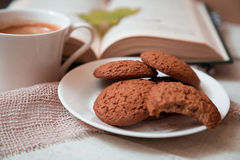Oats cookies and coffee. Cup, romantic background Royalty Free Stock Photo
