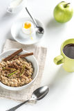 Oats with egg and green apple Stock Photo