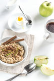 Oats with egg and green apple Royalty Free Stock Image