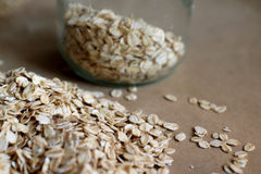 Oats in jar and background Stock Images