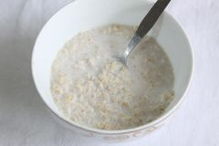 Oats in milk Royalty Free Stock Photo