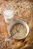 Oats and milk Stock Photos