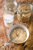 Oats and milk Stock Photography