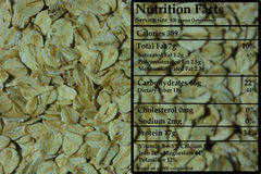 Oats - Nutrition. The nutritional data of oats Stock Image
