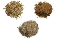 Oats, oat bran and grounded flax  Royalty Free Stock Image