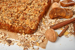 Oats pie with walnuts and figs Royalty Free Stock Photography