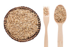 Oats in a plate, fork and spoon Royalty Free Stock Images