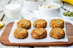 Oats pumpkin and sunflower seeds banana cookies. gluten-free Royalty Free Stock Photo