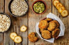 Oats pumpkin and sunflower seeds banana cookies. gluten-free Stock Image