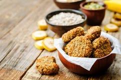 Oats pumpkin and sunflower seeds banana cookies. gluten-free Royalty Free Stock Image