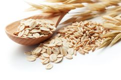 Oats. Scoop and pile of oatmeal with its unprocessed grains and plant Royalty Free Stock Photography