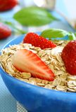 Oats and strawberry in bowl Stock Image