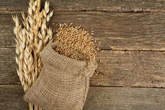 Oats on wooden surface. Close up stock images