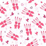 Oavbrutet tjata förälskat Förälskade roliga kaniner på ett datum Kulör sömlös modell för valentindagmaterial stock illustrationer