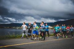 Oavbrutet tjata paceren med en grupp av löpare 10K Arkivfoton