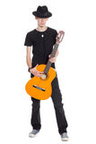Oavkortad längd för ung gitarrist royaltyfria foton
