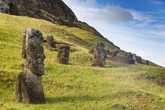 Oavslutade Moai statyer i ett villebråd Royaltyfri Bild