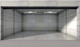 oavslutat fönster för dubbelt garage Arkivfoto