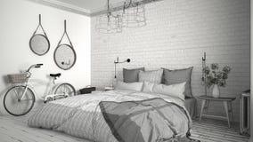 Oavslutat projekt av det moderna sovrummet med hemtrevlig dubbelsäng och br royaltyfri illustrationer