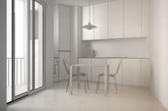 Oavslutat projekt av minimalist modernt kök med det stora fönstret och äta middagtabellen med stolar, vit arkitekturinre royaltyfri bild