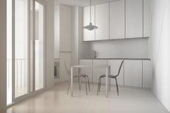 Oavslutat projekt av minimalist modernt kök med det stora fönstret och äta middagtabellen med stolar, vit arkitekturinre royaltyfri foto