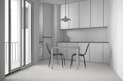 Oavslutat projekt av minimalist modernt kök med det stora fönstret och äta middagtabellen med stolar, vit arkitekturinredesign arkivbild