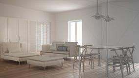 Oavslutat projekt av modern ren vardagsrum med glidnings- dörren och äta middag tabellen, soffan, puffen och schäslongen, minsta  royaltyfri bild