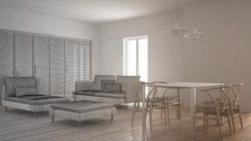 Oavslutat projekt av modern ren vardagsrum med glidnings- dörren och äta middag tabellen, soffan, puffen och schäslongen, minsta  royaltyfria foton