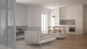 Oavslutat projekt av modern ren vardagsrum med kök och den äta middagtabellen, soffan, puffen och schäslongen, minsta inre fotografering för bildbyråer