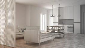 Oavslutat projekt av modern ren vardagsrum med kök och den äta middagtabellen, soffan, puffen och schäslongen, minsta inre arkivbild