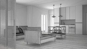 Oavslutat projekt av modern ren vardagsrum med kök och den äta middagtabellen, soffan, puffen och schäslongen, minsta inre royaltyfria bilder