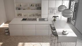 Oavslutat projekt av modernt kökmöblemang i klassiskt rum, gammal parkett, minimalist arkitekturinredesign arkivbilder