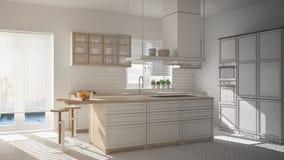 Oavslutat projekt av modernt trä- och vitt kök med ön, stolar och fönster, parkettfiskbensmönstergolv arkivfoton