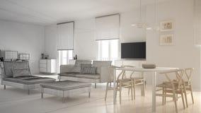 Oavslutat projekt av modernt modernt vardagsrumöppet utrymme med att äta middag tabell- och hörnkontoret, hem- arbetsplats med da royaltyfria foton