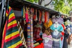 Oaxaca de Juarez, Mexico. OAXACA, MEXICO- OCT 31, 2016: Market place (the main square Zocalo of Oaxaca) with the original traditional Mexican souvenirs and Royalty Free Stock Photos