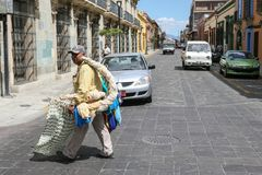 Man selling hand made traditional Oaxaca  hammocks in Oaxaca, Me Stock Images