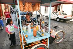 Woman selling fresh snacks, fruits and juices in Oaxaca, Mexico Stock Image