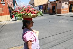 Woman selling strawberries in Oaxaca, Mexico Stock Photography
