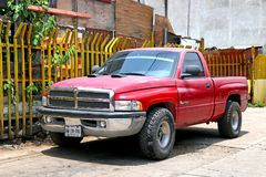 Dodge Ram 1500. Oaxaca, Mexico - May 25, 2017: Red pickup truck Dodge Ram 1500 in the city street stock photos