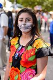 People on the Dia de los Muertos in Mexico. OAXACA, MEXICO - OCT 31, 2016: Unidentified girl dressed as zombie for the Day of the Dead (Dia de los Muertos) Stock Photography