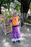 People on the Dia de los Muertos in Mexico. OAXACA, MEXICO - OCT 31, 2016: Unidentified girl dressed and painted as zombie for the Day of the Dead (Dia de los Stock Photo