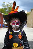 Oaxaca, Mexico-October 31, 2016-A young girl dressed up for day of the dead Stock Photos