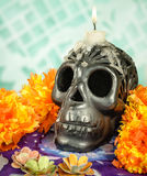 Oaxacan black clay Skull with candle Royalty Free Stock Photo