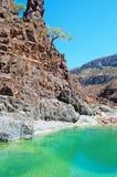 Oaza Dirhur, wadi, upad, pływanie, naturalny basen w ochraniającym terenie Dixam plateau, Socotra wyspa, Jemen fotografia stock