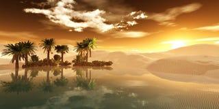 Oaza w piaskowatej pustyni Zdjęcia Stock