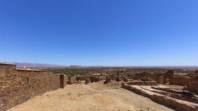 Oazy miasteczko zag Sceniczny pustynia krajobraz w Maroko Fotografia Stock