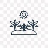 Oazy wektorowa ikona odizolowywająca na przejrzystym tle, liniowy Oas royalty ilustracja